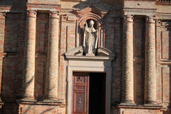 The church. Outside the church with statues in Piedmont Italy Stock Photography