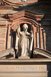 The church. Outside the church with statues in Piedmont Italy Royalty Free Stock Photography