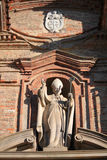 The church. Outside the church with statues in Piedmont Italy Stock Image