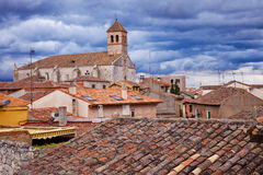 Church over Simancas roofs Royalty Free Stock Photo