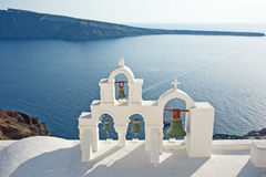 Church overlooking Aegean Sea. Royalty Free Stock Photo