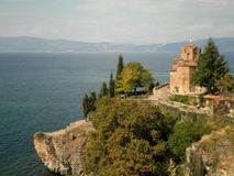 Church Overlooking Lake. A medieval church in Ohrid lake, Macedonia royalty free stock photography