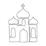 Church painted in one line. The coloring of the concept of religion. Catholic vector. Stock Photos