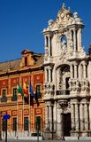 Church and palace near Seville in Spain Stock Photos