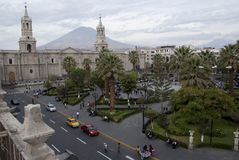 Church and palm trees on Plaza de Armas in Arequipa, Peru, South America royalty free stock image
