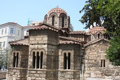 The Church of Panaghia Kapnikarea side view on Emrou street. Church of Panaghia Kapnikarea is a Greek Orthodox church and one of t royalty free stock photos