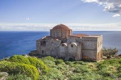 Church of Panagia Odigitria in Byzantine town of Monemvasia, Greece, 04 JAN 2018. Views of Byzantine town of Monemvasia, Greece royalty free stock photos