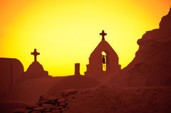 Church of Panagia Paraportiani, sunset, Mykonos Stock Photo