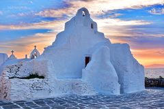 Mykonos, Greece. Church of Panagia Paraportiani at sunset, Mykonos - Greece Royalty Free Stock Images
