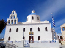 Church of Panagia of Platsani at Caldera Square, Oia Village of Santorini Island Stock Images