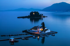 The church of Panagia Vlacherna and Mouse Island in Kanoni, Corfu, Greece Royalty Free Stock Photo