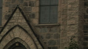Church (panning), details of old architecture stock footage