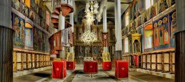 Church panorama, colorful interior Royalty Free Stock Image