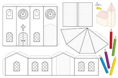 Church Paper Craft Coloring Template Stock Vector Illustration Of
