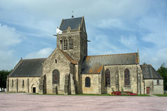 Church with paratrooper on the tower of Sainte M�re �glise in Fr Royalty Free Stock Photos