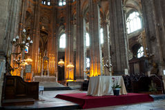 Church in Paris. Interior of a Gothic church in Paris, France Stock Photography