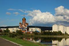 Church in the park, Zelenogorsk, Krasnoyarsk region stock photo
