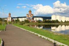 Park with a lake, Zelenogorsk, Krasnoyarsk region stock photos