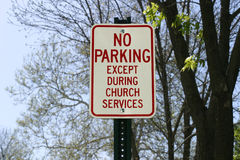 Church Parking Sign Royalty Free Stock Photo