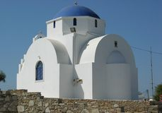 Church in paros. A blue and white church on the island of paros Royalty Free Stock Images