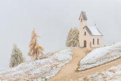 Church Passo Gardena. In the Dolomites. In winter garb Royalty Free Stock Photography