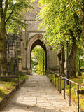 Church path. Path to church with lamppost in autumn UK Stock Photo