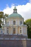 Church pavilion Big Menshikov Palace closeup cloudy. Oranienbaum, Russia Royalty Free Stock Photo