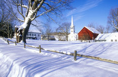 Church in Peacham, VT in snow in winter Royalty Free Stock Photo