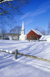 Church in Peacham, VT in snow in winter Royalty Free Stock Images