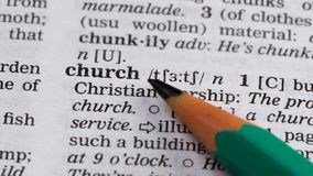 Church, pencil pointing definition, building and christianity faith institution