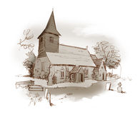 Church pencil shaded sketch. St Peter's Church, Little Totham, Essex UK Royalty Free Stock Image