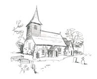 Church Pencil Sketch Royalty Free Stock Image