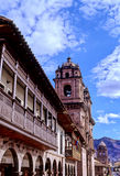 Church- Peru. Colonial loggia & bell-tower of La Compania de Jesus church off of the Plaza de Armas in the colonial city of Cusco- Sacred Valley, Peru Royalty Free Stock Photo