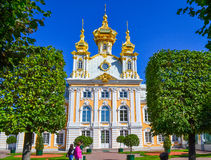 The Church in Peterhof. The Church complex of the Grand Palace. The Attraction Of Peterhof. Peterhof Park, a tourist complex near St. Petersburg Royalty Free Stock Photos