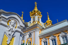 The Church in Peterhof. The Church complex of the Grand Palace. The Attraction Of Peterhof. Peterhof Park, a tourist complex near St. Petersburg Royalty Free Stock Photo