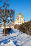 The Church in Peterhof. The temple with gold domes in the winter in Peterhof, Russia royalty free stock photo