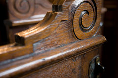 Church pew box door with number scratched on Stock Photos