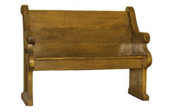 Church Pew Isolated. A brown wooden church pew isolated on a white background Stock Photos