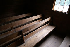 Church pews 1. Old rustic church pews in the Smokey Mountains of Tennessee Stock Photo