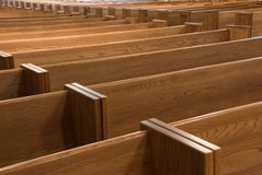 Church pews. In this 100+ years old Presbyterian Church, Chicago royalty free stock photos