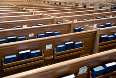 Church pews. In a 100+ years old Presbyterian Church, Chicago is waiting for parishioners stock photography