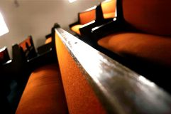 Church Pews. Orange church pews royalty free stock photos