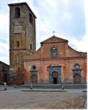 Church in the piazza of Civita di Bagnoregio Italy royalty free stock images