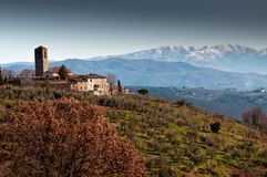 Pieve di Santa Cecilia a Decimo at San Casciano in Italy royalty free stock images