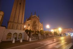 The church of Pieve di Soligo in the province of Treviso, Italy. Churches and religions from world royalty free stock photos