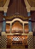 Church pipe organ. In church stock photo