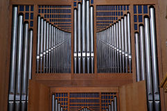 Church pipes organ. Moder pipes organ in St Jean Cathedral (Lyon France Royalty Free Stock Image