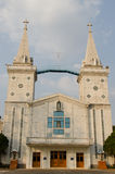 Church place at Nakhonphanom, Thailand. Blue sky Royalty Free Stock Photos