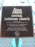 Church plaque stock photo