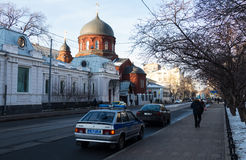 Church and police car. In Moscow 2016 royalty free stock photos